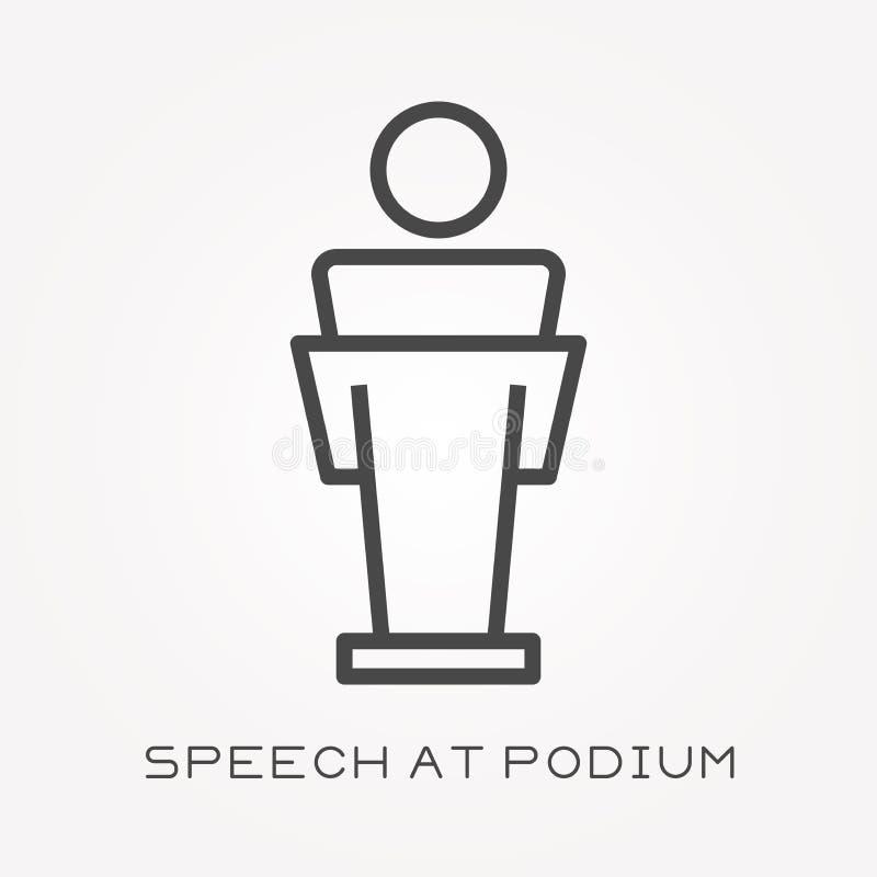 Icônes plates de vecteur avec le discours au podium illustration stock