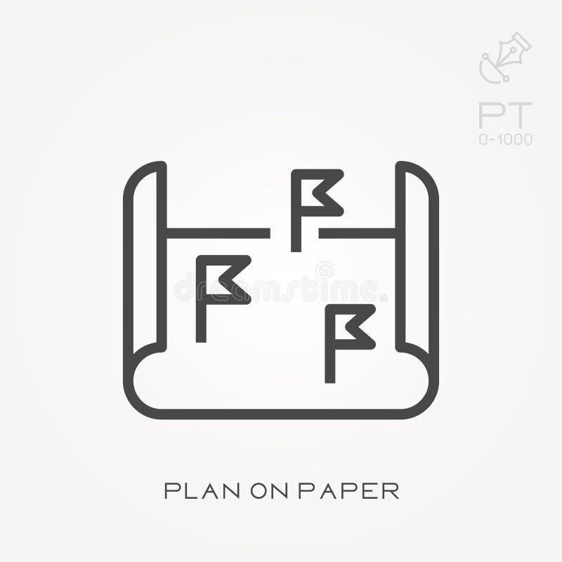 Icônes plates de vecteur avec le plan sur le papier illustration stock