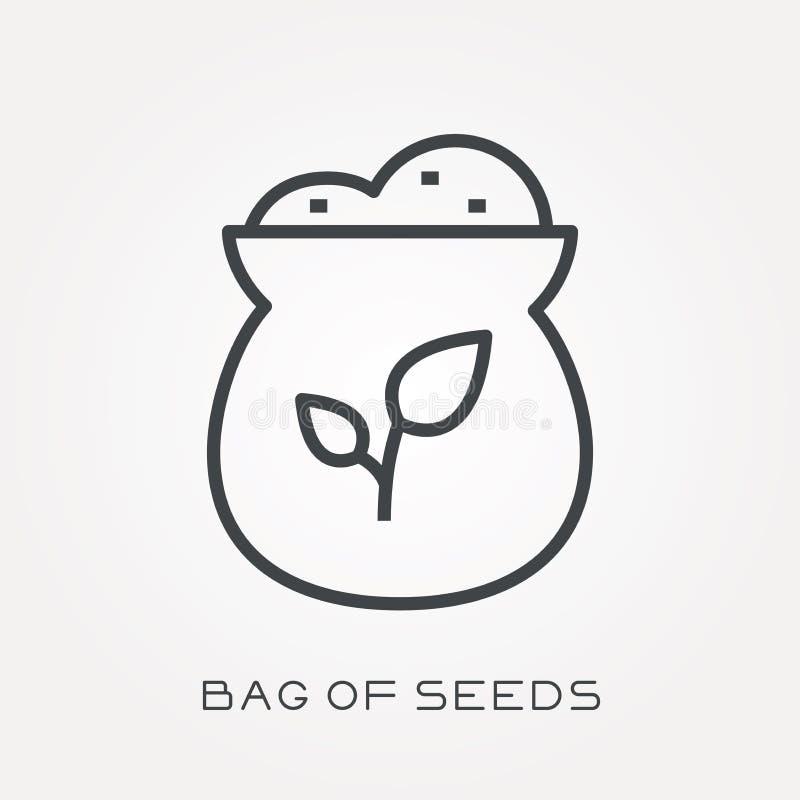 Icônes plates de vecteur avec le sac des graines illustration libre de droits