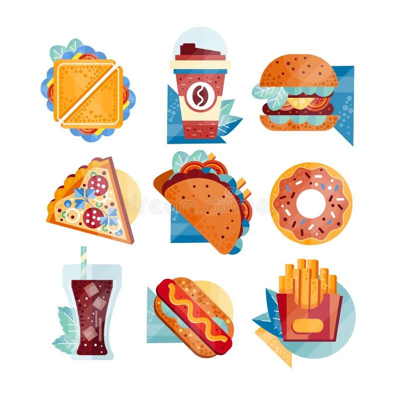 Icônes plates de vecteur avec les aliments de préparation rapide et les boissons Sandwich, café, hamburger, pizza, tacos, beignet illustration de vecteur