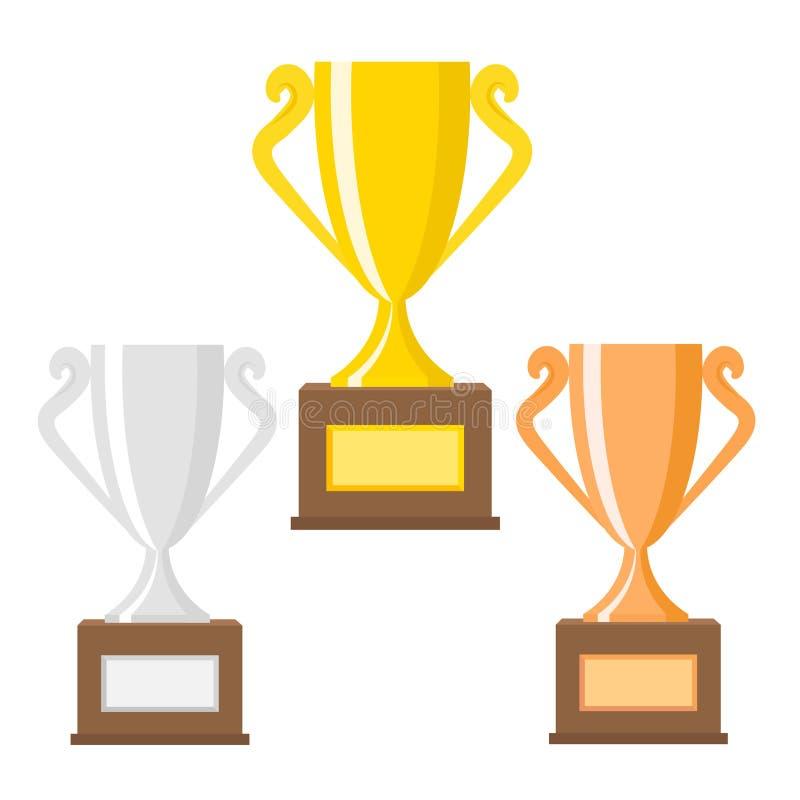 Icônes plates de vecteur de tasses d'or, d'argent et de bronze de trophée de gagnant pour le concept de victoire de sports Folâtr illustration libre de droits