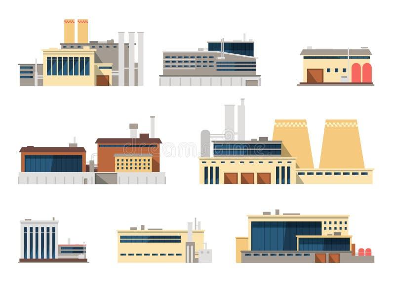 Icônes plates extérieures industrielles de vecteur d'usine et d'usine pour le concept d'industrie illustration stock