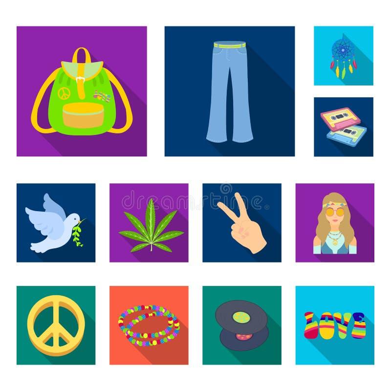 Icônes plates heureuses et d'attribut dans la collection d'ensemble pour la conception Heureux et des accessoires dirigez l'illus illustration stock