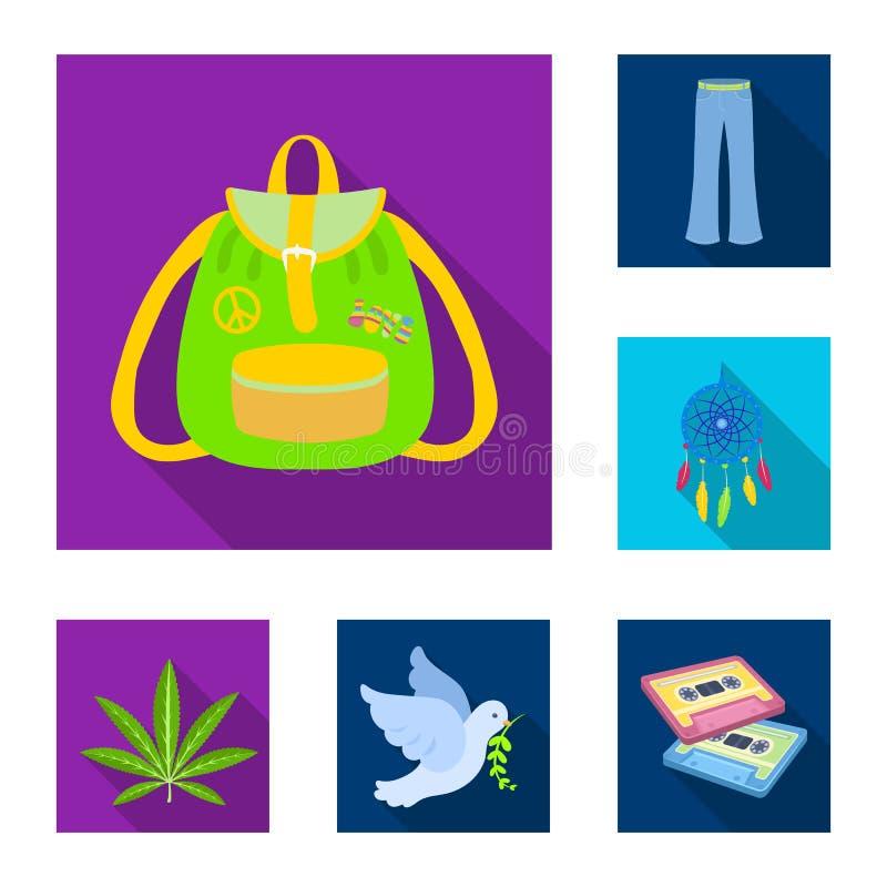 Icônes plates heureuses et d'attribut dans la collection d'ensemble pour la conception Heureux et des accessoires dirigez l'illus illustration de vecteur