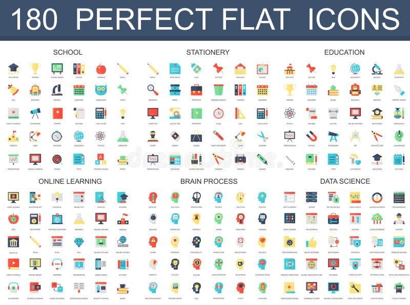 180 icônes plates modernes ont placé de l'école, papeterie, éducation, apprenant en ligne, processus de cerveau, icônes de la sci illustration stock