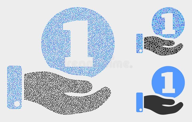 Icônes pointillées de main de donation de pièce de monnaie de vecteur illustration stock