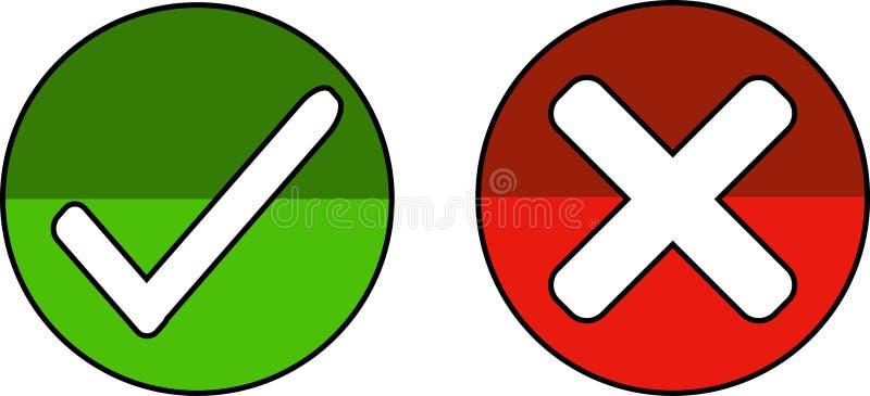 Icônes pour accepter et rejeter - le vecteur illustration libre de droits