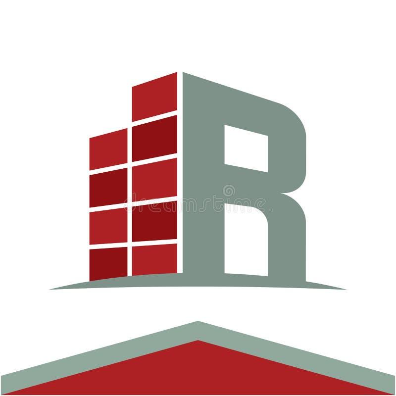 Icônes pour le logo d'entreprise de construction avec la lettre d'initiales R illustration stock