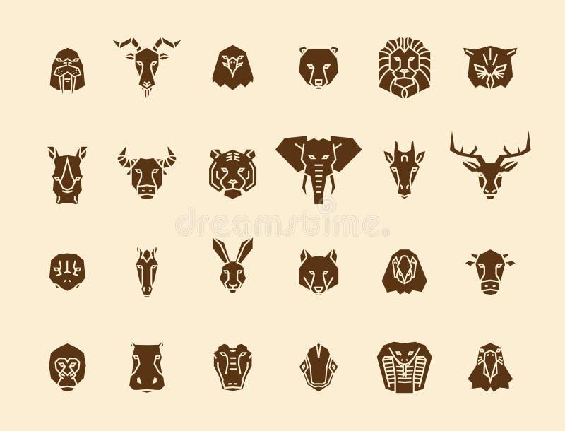 24 icônes principales animales Collection géométrique d'illustration de vecteur unique représentant certains des animaux de la vi illustration de vecteur