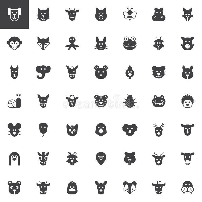 Icônes principales animales de vecteur réglées illustration de vecteur