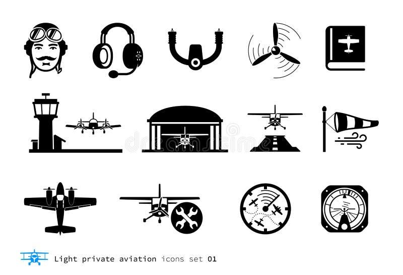 Icônes privées légères d'aviation illustration libre de droits