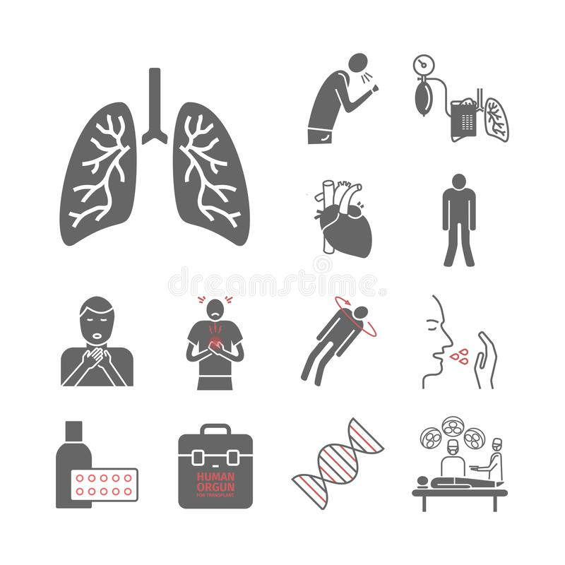 Icônes pulmonaires d'hypertension illustration libre de droits