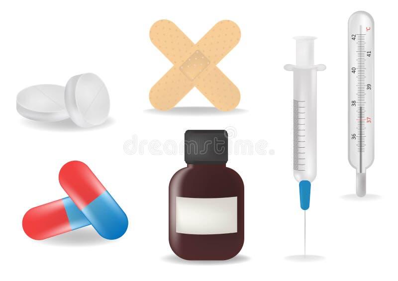 Icônes réalistes de soin de premiers secours du secours 3d médical réglées avec la pilule, thermomètre, mélange, seringue, plâtre illustration de vecteur