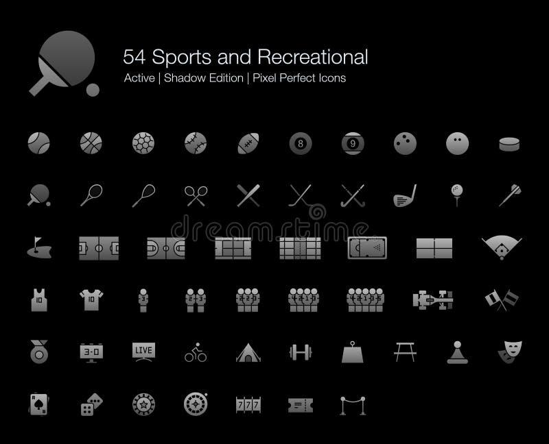 Ic?nes r?cr?ationnelles d'activit?s de divertissement de jeux de sports r?gl?es pour le fond noir illustration stock