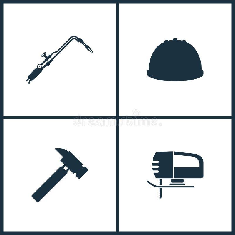 Icônes réglées de cinéma d'illustration de vecteur Éléments des outils pour couper le métal et chauffer produits, icône de masque illustration stock