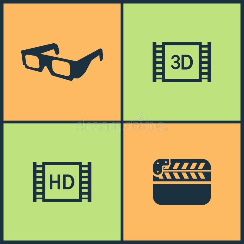 Icônes réglées de cinéma d'illustration de vecteur Éléments de la cassette vidéo, tapis rouge, promenade d'étoile de renommée et  illustration libre de droits