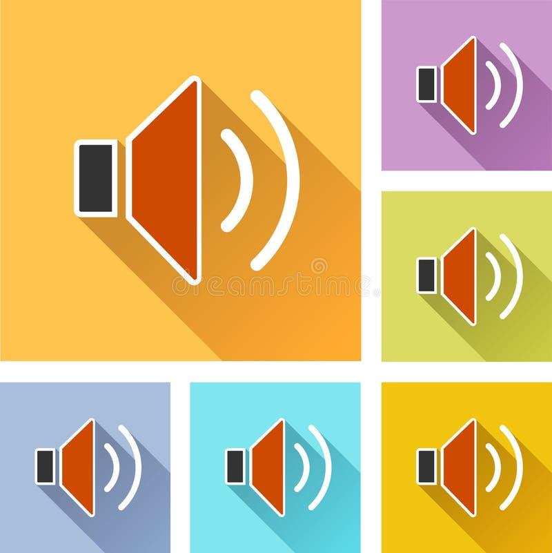Icônes réglées de haut-parleur illustration de vecteur