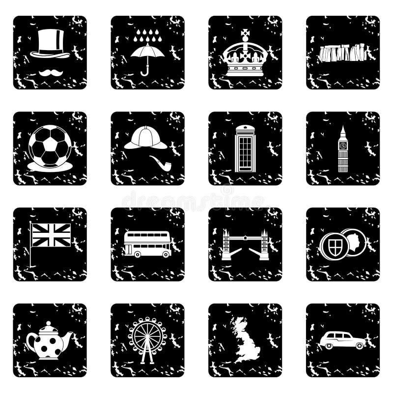 Icônes réglées de la Grande-Bretagne, style grunge illustration de vecteur