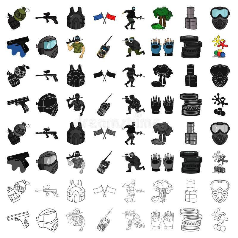Icônes réglées de Paintball dans le style de bande dessinée Grande collection d'illustration d'actions de symbole de vecteur de p illustration libre de droits