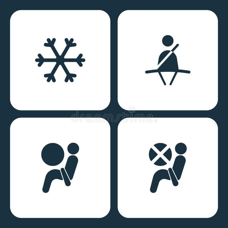 Icônes réglées de tableau de bord de voiture d'illustration de vecteur Les éléments ceinture de sécurité neigent, icône d'airbag, illustration libre de droits