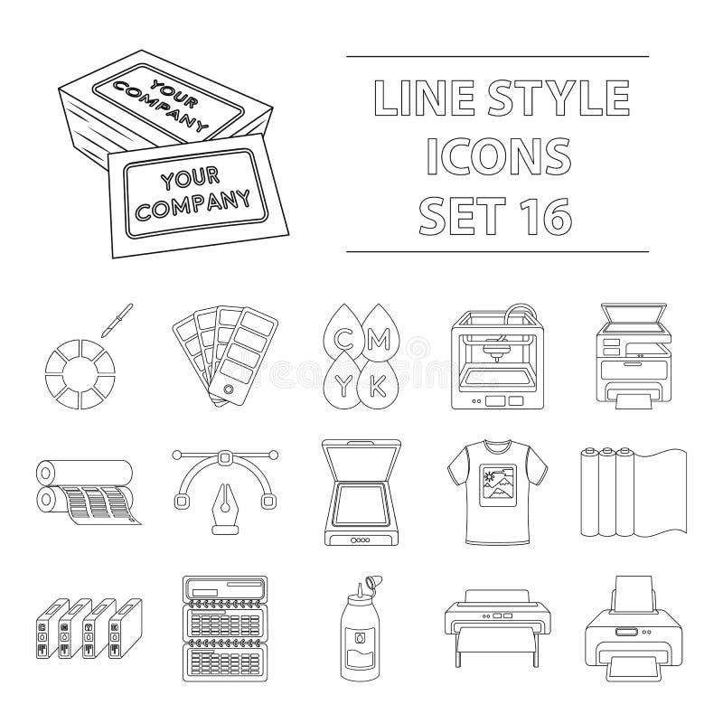 Icônes réglées de typographie dans le style d'ensemble Grande collection d'illustration d'actions de symbole de vecteur de typogr illustration libre de droits