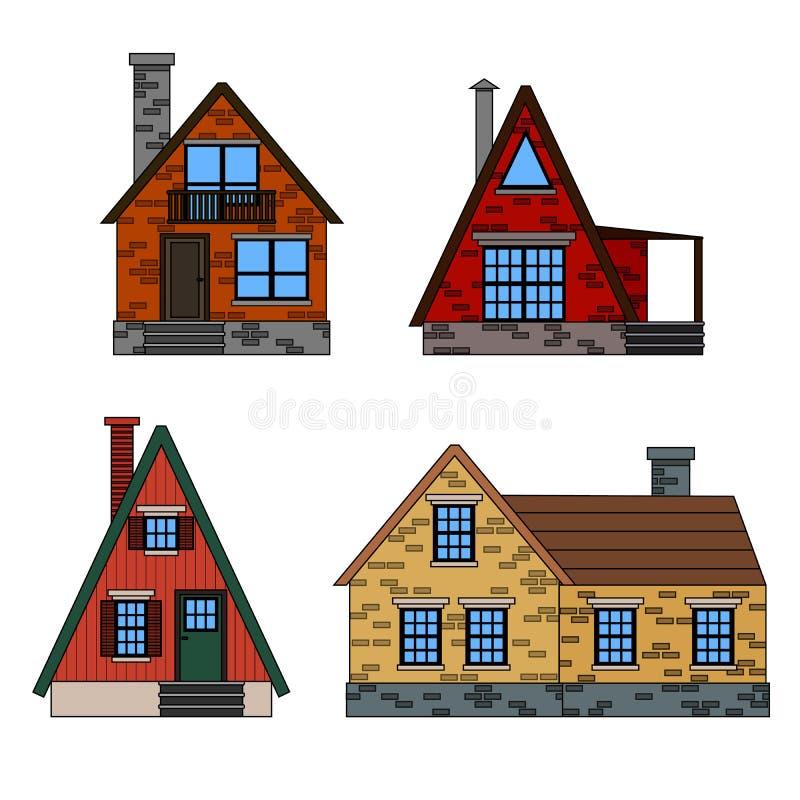 Icônes résidentielles de maisons en tendant le style plat minimal avec des lignes Une ligne ensemble d'icône des maisons colorées illustration de vecteur