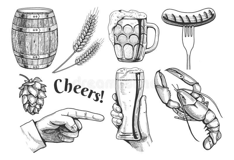 Icônes relatives d'objets de bière illustration de vecteur