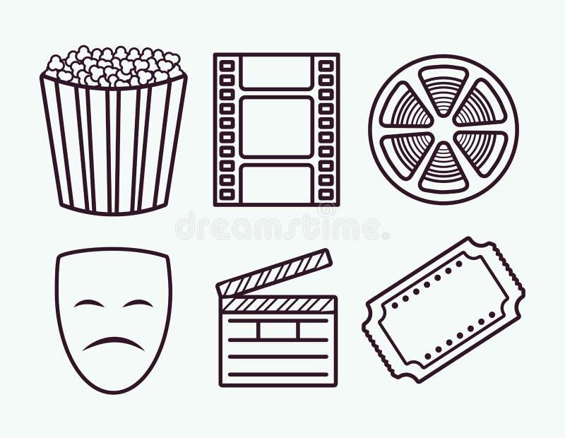 Icônes relatives de cinéma illustration libre de droits