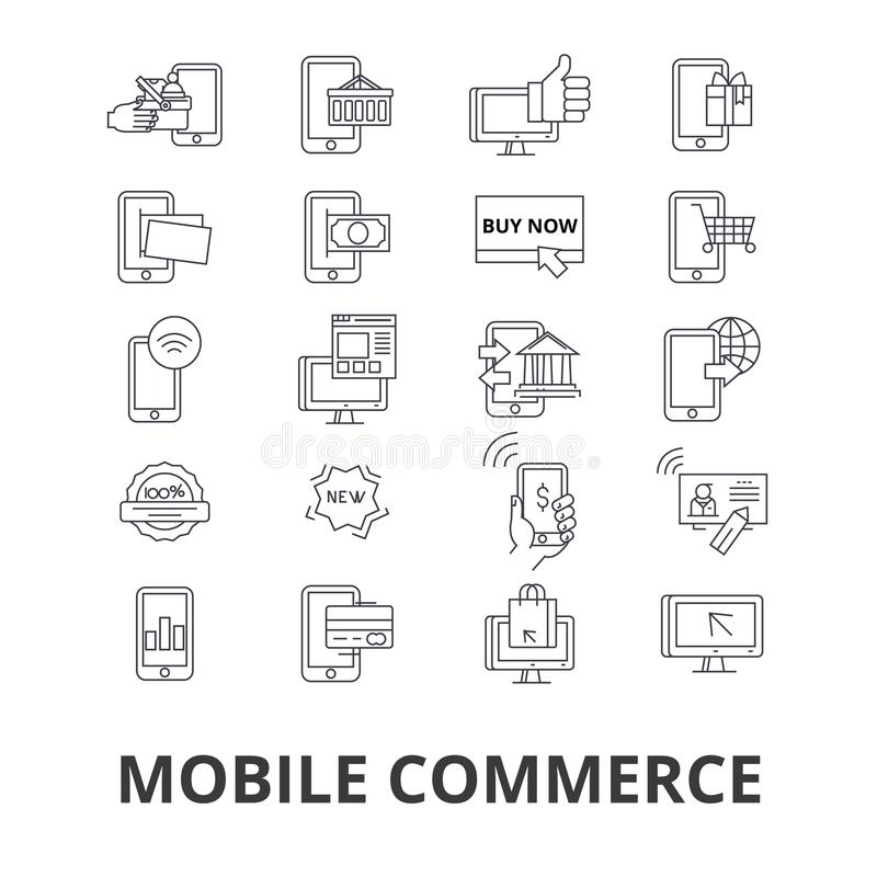 Icônes relatives de commerce mobile illustration de vecteur