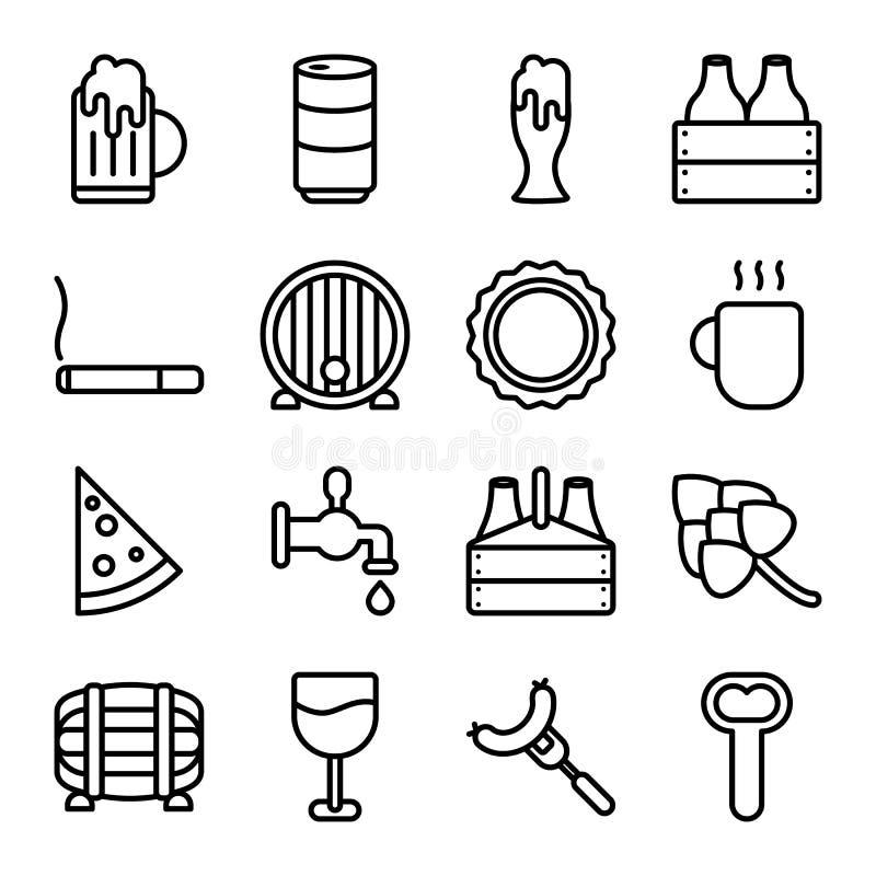 Icônes relatives de vecteur de bière illustration de vecteur