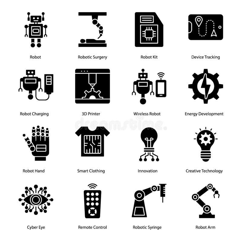 Icônes robotiques de Glyph de chirurgie illustration stock