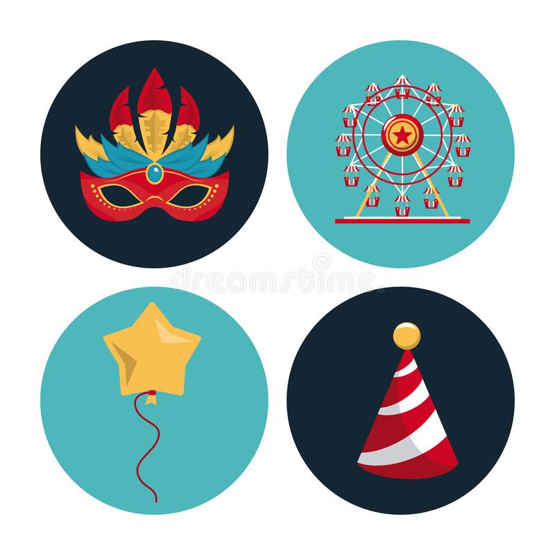 Icônes rondes de carnaval de cirque illustration stock