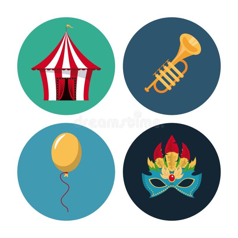 Icônes rondes de carnaval de cirque illustration de vecteur