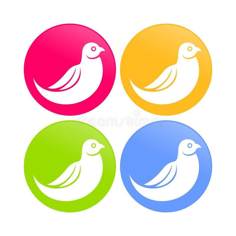 Icônes rondes de couleur d'oiseau de colombe de résumé illustration stock