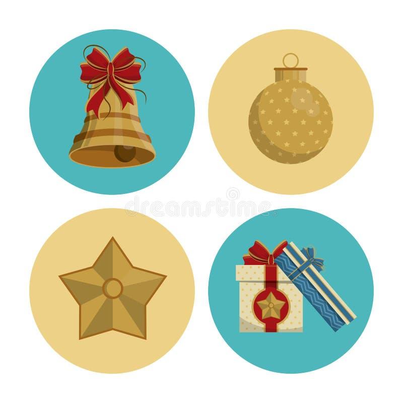 Icônes rondes de Noël illustration stock