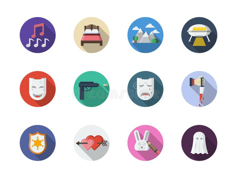 Icônes rondes plates de couleur de genres de film réglées illustration stock