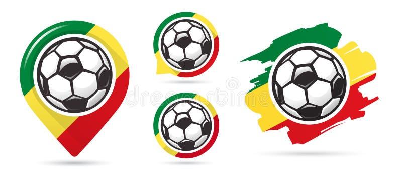 Icônes sénégalaises de vecteur du football But du football Ensemble d'icônes du football illustration de vecteur