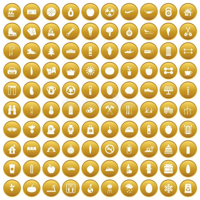 100 icônes saines de mode de vie ont placé l'or illustration libre de droits