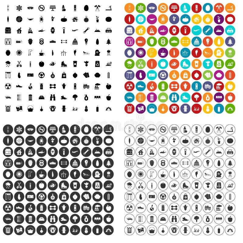 100 icônes saines de mode de vie réglées variables illustration de vecteur