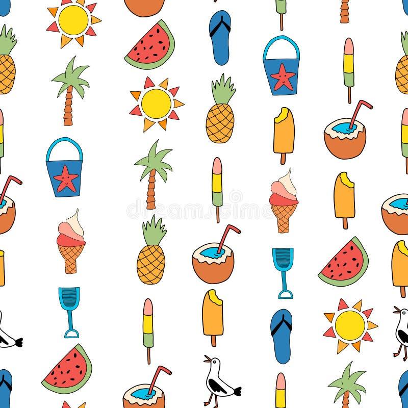 Icônes sans couture d'été de fond de vecteur Répétition du modèle avec la pastèque, glace à l'eau, ananas, noix de coco, cornet d illustration stock