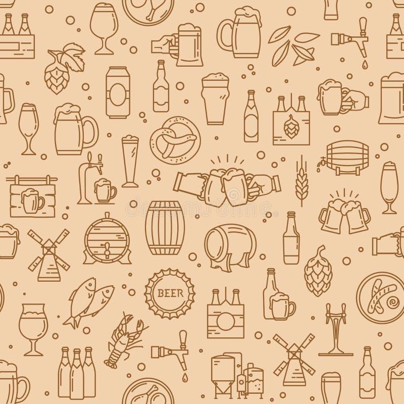 Icônes sans couture de bière de papier d'emballage de modèle dans le style moderne sur le thème de la bière illustration de vecteur