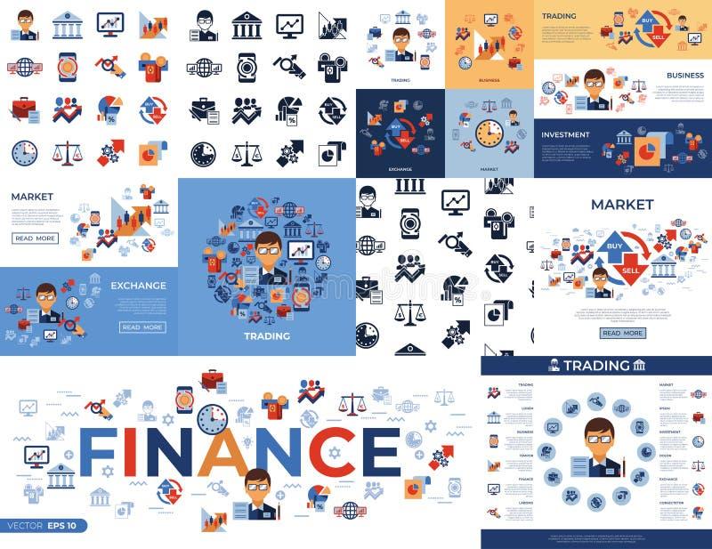 Icônes simples de commerce financier de Digital illustration libre de droits