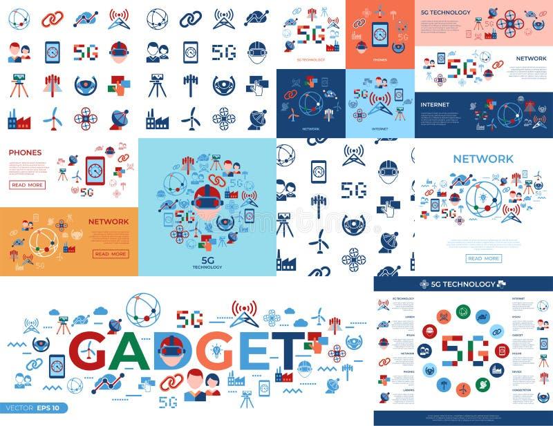 Icônes simples de technologie mobile de Digital illustration de vecteur