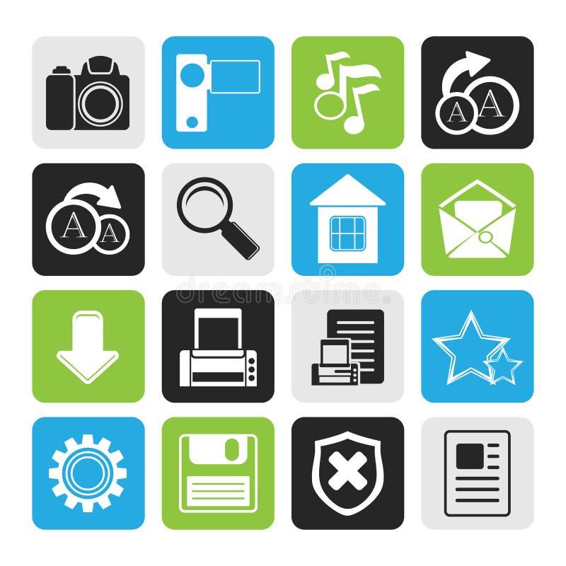 Icônes simples noires d'Internet et de site Web illustration de vecteur
