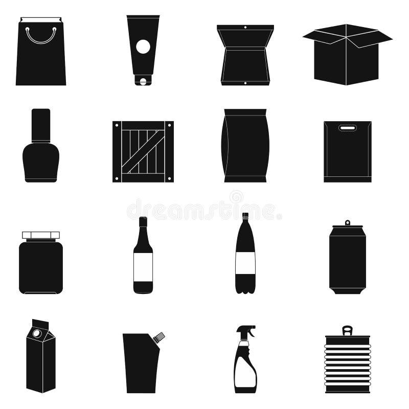 Icônes simples noires de empaquetage réglées illustration stock