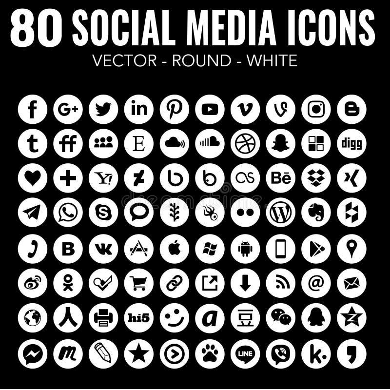 80 icônes sociales blanches rondes de médias de vecteur pour la conception graphique et la conception web illustration libre de droits