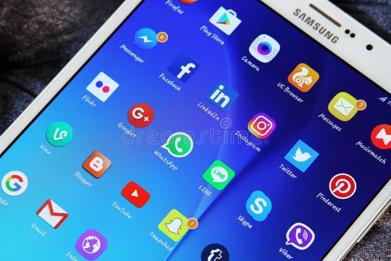 Icônes sociales d'applications de réseaux de media images libres de droits