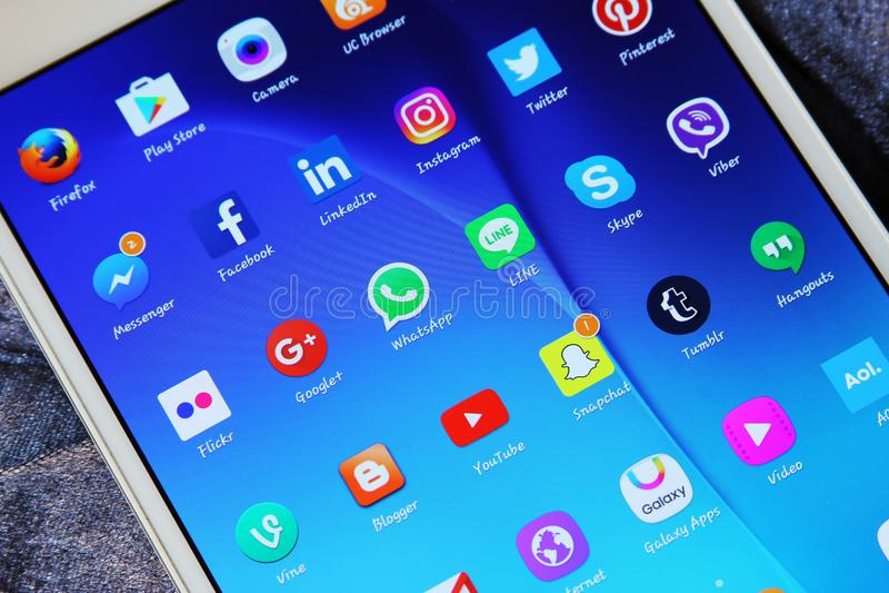 Icônes sociales d'applications de réseaux de media image libre de droits