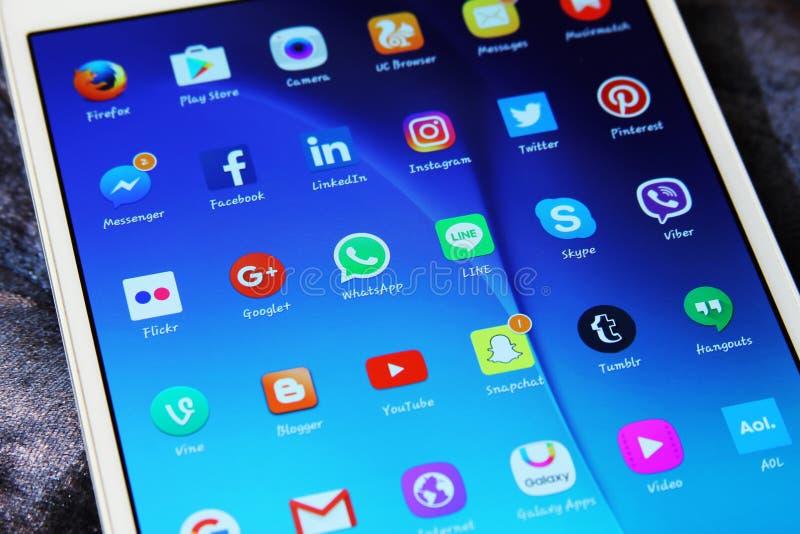 Icônes sociales d'applications de réseaux de media photos stock