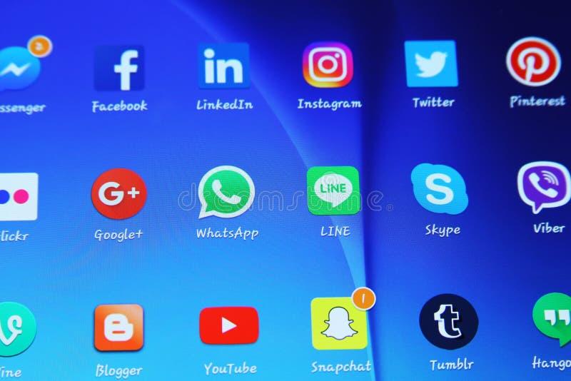 Icônes sociales d'applications de réseaux de media photographie stock libre de droits